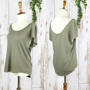 Trouve Linen Khaki Olive Green Loose Fit Tee EUC